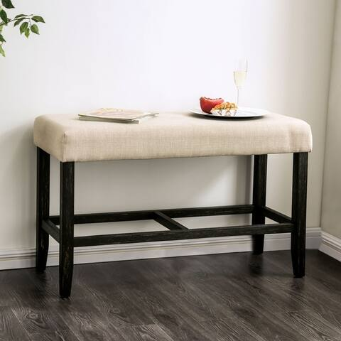 Furniture of America Shap Rustic Linen Fabric Counter Height Bench