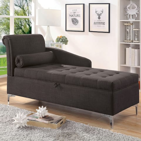 Furniture of America Agra Transitional Grey Fabric Upholstered Chaise