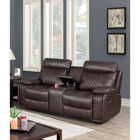 Furniture of America Ever Contemporary Brown Faux Leather Loveseat