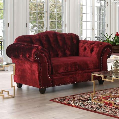 Furniture of America Tace Transitional Red Velvet Nailhead Loveseat
