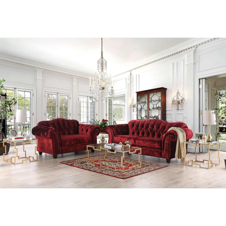 Furniture Of America Tace Transitional Red Velvet Nailhead Loveseat Overstock 29244145