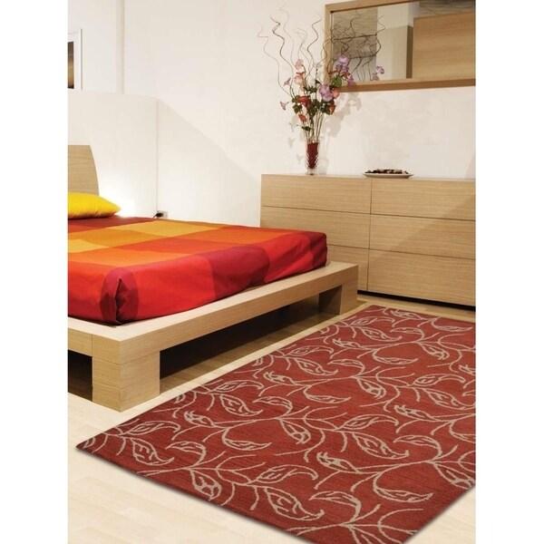 Modern Hand Tufted Wool Botanical Area Rug Indian Oriental Carpet