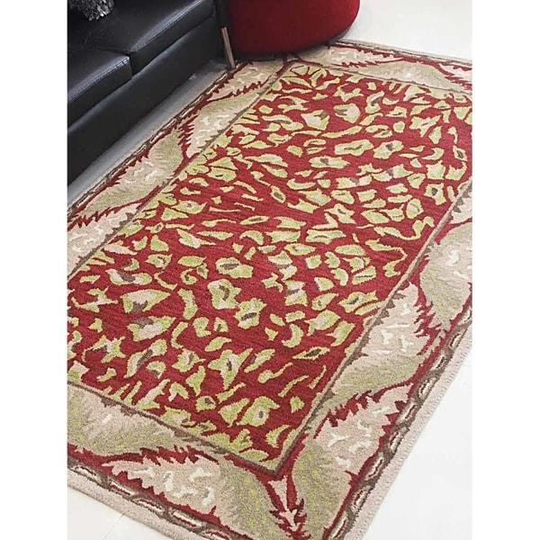 Animal Print Hand Tufted Border Area Rug Indian Modern Oriental Carpet