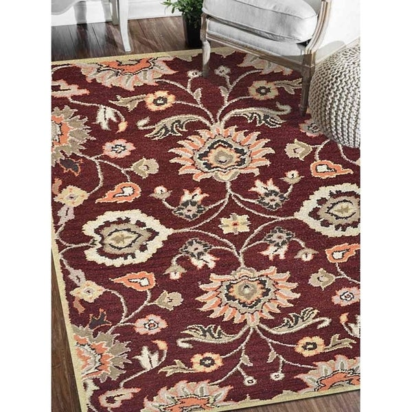 Hand Tufted Oriental Wool Carpet Indian Victorian Style Area Rug