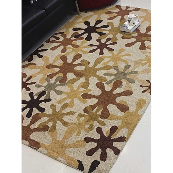 Indian Oriental Transitional Floral Carpet Hand Tufted Wool Area Rug
