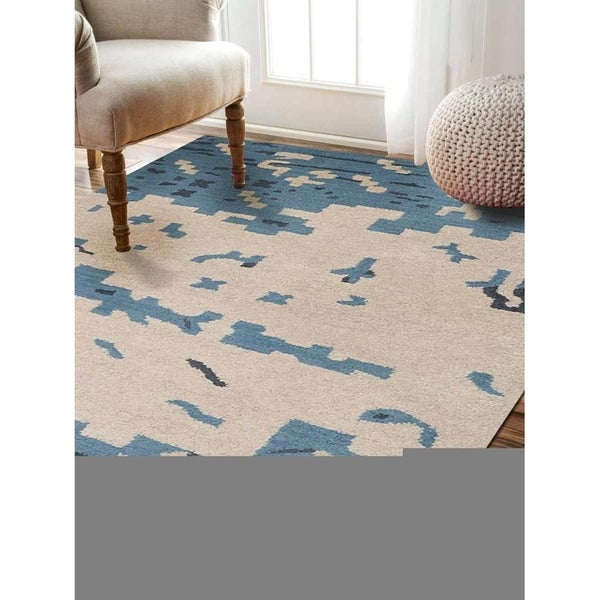 Hand Tufted Wool Abstract Area Rug Indian Oriental Modern Carpet