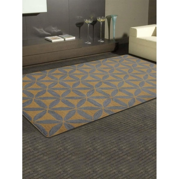 Geometric Transitional Carpet Indian Oriental Hand Tufted Area Rug