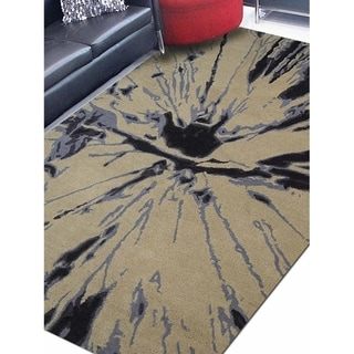 Abstract Hand Tufted Wool Modern Carpet Indian Oriental Area Rug - 5' x 8'