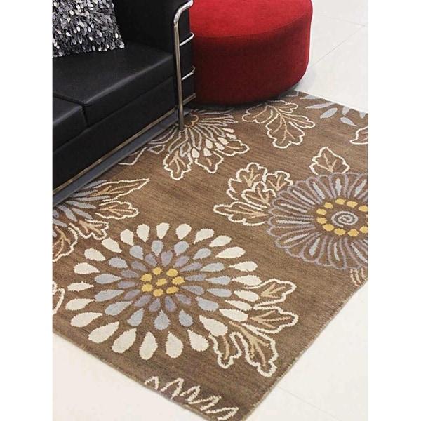 Floral Design Hand Tufted Wool Area Rug Indian Modern Oriental Carpet
