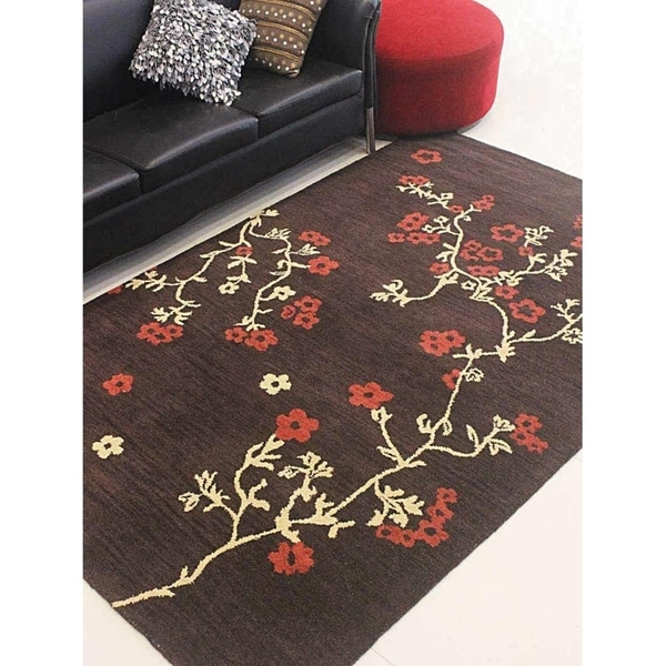 Hand Tufted Wool Modern Floral Oriental Area Rug Indian Carpet