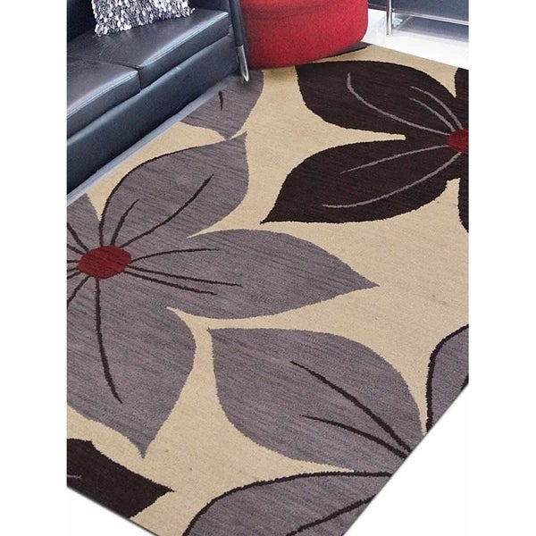 Transitional Floral Carpet Indian Hand Tufted Wool Oriental Area Rug