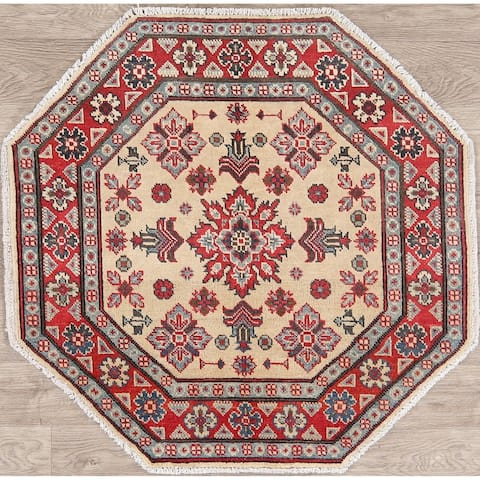 "Kazak Oriental Hand Knotted Wool Rug Traditional Pakistani Carpet - 3'3"" x 3'4"" Octagon - 3'3"" x 3'4"" Octagon"