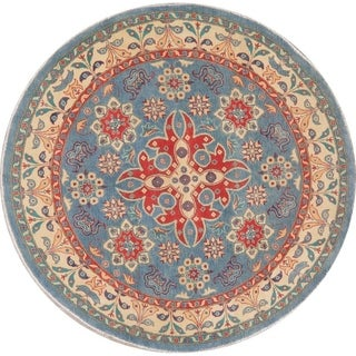 "Kazak Traditional Pakistani Carpet Hand Knotted Wool Oriental Rug - 6'6"" x 6'7"" Round"