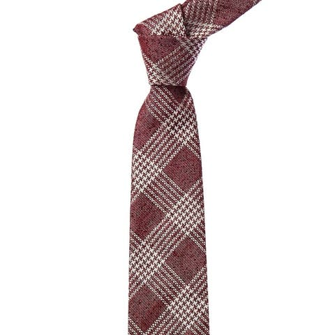 Dunhill Red Check Silk & Linen-Blend Tie - NoSize