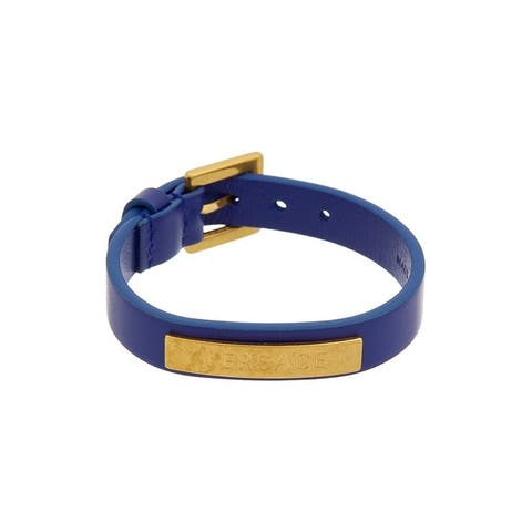 Versace Logo Leather Bracelet - NoSize