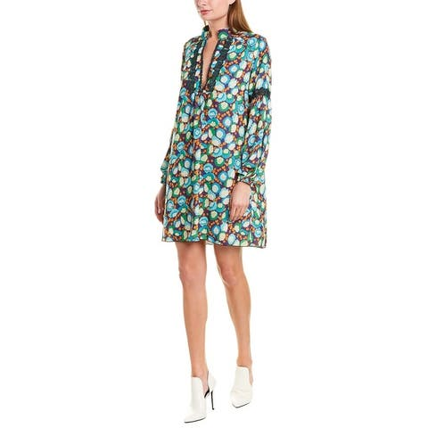 Anna Sui Pom Pom Posies Shift Dress