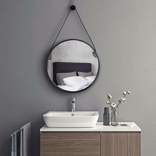 Wall  Hanging Strap Round Wall Hd Mirror For Bathroom - 24""