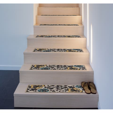 Contemporary Modern Floral Non-Slip Stair Treads