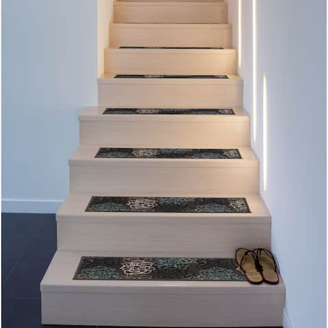 Modern Floral Flowers Non-Slip Stair Treads