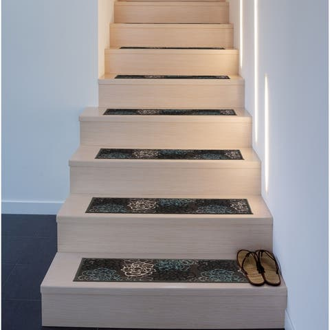 Modern Floral Flowers Non-Slip Stair Treads