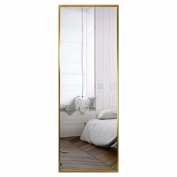 Aluminum Alloy Wide Frame Full Length Floor Mirror Hanging or Leaning - N/A