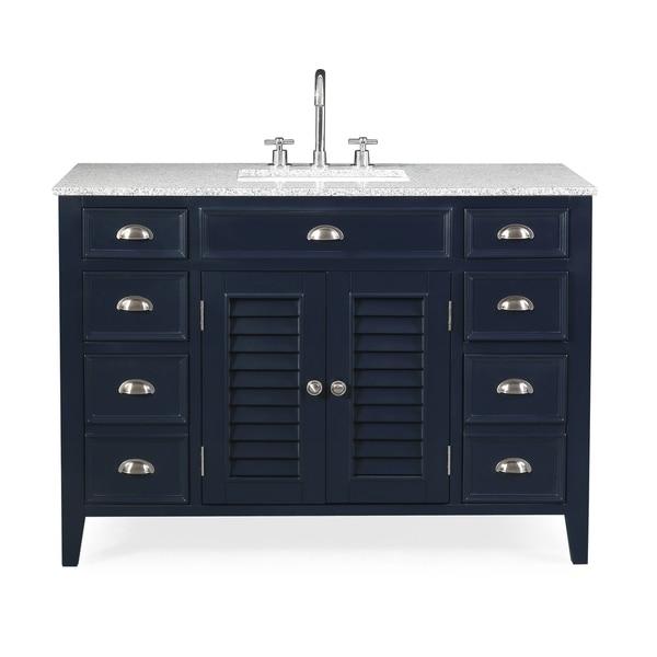 "46.5"" Benton Collection Navy Blue Zapate Granite Top Bath Vanity"