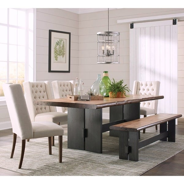 Hand-Crafted Design Live Edge Design Dining Set with Wing Back Button Tufted Chairs
