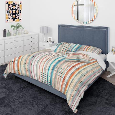 Designart 'Grunge Line' Mid-Century Modern Duvet Cover Comforter Set