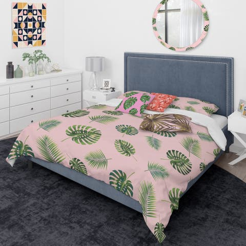 Designart 'Palm Tropical leaves pattern.' Mid-Century Modern Duvet Cover Comforter Set