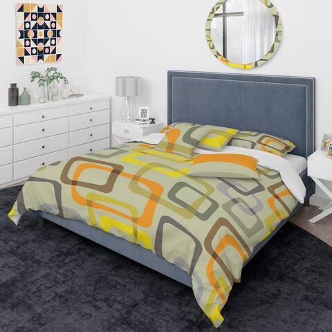 Designart 'Retro Square Design VII' Mid-Century Modern Duvet Cover Comforter Set