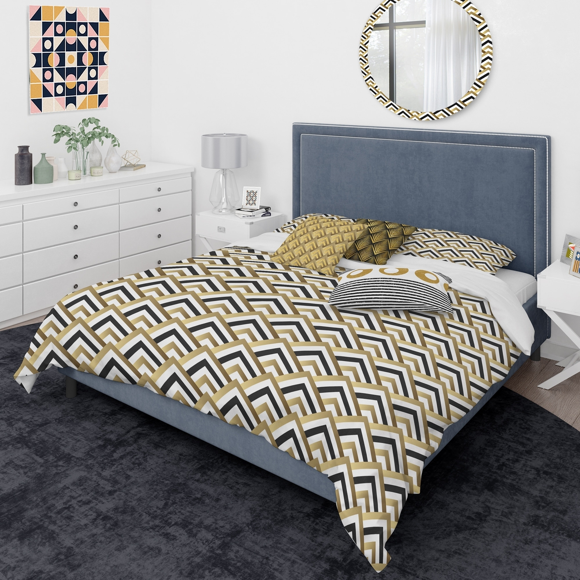 Designart Gold Black And White Triangle Mid Century Modern Duvet Cover Comforter Set Overstock 29257796