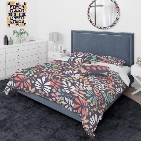Designart 'Retro Botanical Pattern II' Mid-Century Modern Duvet Cover Comforter Set