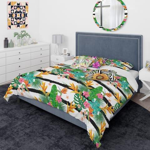 Designart 'Retro Tropical Leaves II' Mid-Century Modern Duvet Cover Comforter Set