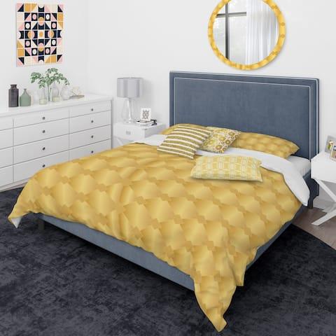 Designart 'Golden Geometric I' Mid-Century Modern Duvet Cover Comforter Set