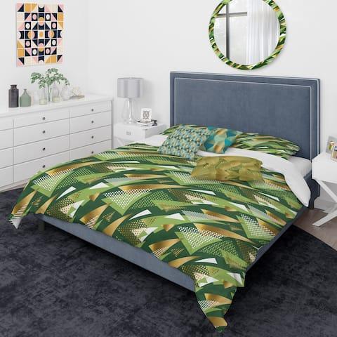Designart 'Triangular Gold and Green Design I' Mid-Century Modern Duvet Cover Comforter Set