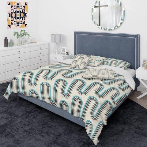Designart 'Retro Geometrical Abstract Minimal Pattern IV' Mid-Century Modern Duvet Cover Comforter Set