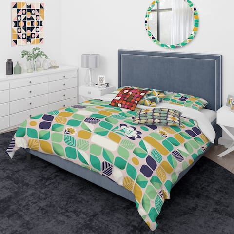 Designart 'geometric pattern with leaves and flowers' Mid-Century Modern Duvet Cover Comforter Set