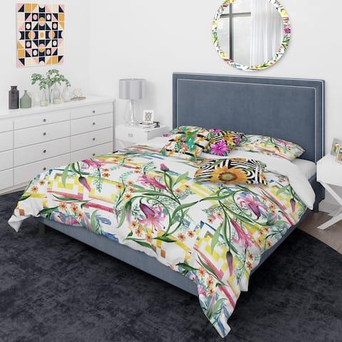 Designart 'Floral Botanical Retro XI' Mid-Century Modern Duvet Cover Comforter Set