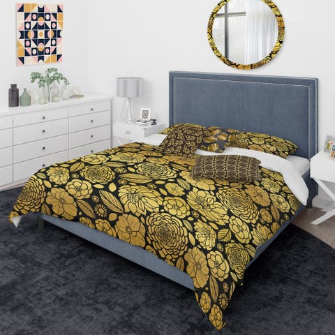 Designart 'Golden Floral II' Mid-Century Modern Duvet Cover Comforter Set