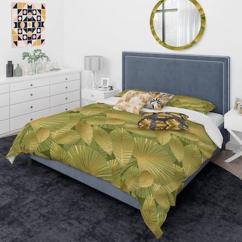 Designart 'Golden Leaves I' Mid-Century Modern Duvet Cover Comforter Set