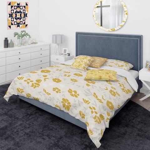 Designart 'Retro Handdrawn Poppies III' Mid-Century Modern Duvet Cover Comforter Set