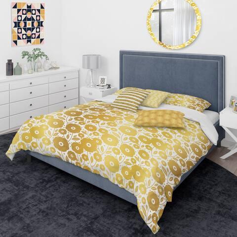 Designart 'Golden Floral I ' Mid-Century Modern Duvet Cover Comforter Set