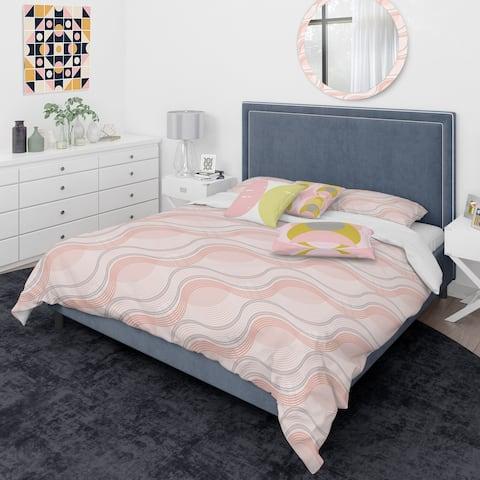 Designart 'Pink Elegant Pastel Waves' Mid-Century Modern Duvet Cover Comforter Set