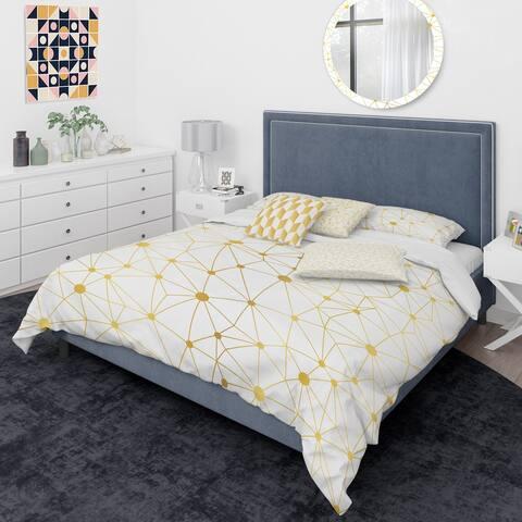 Designart 'Golden Grid I' Mid-Century Modern Duvet Cover Comforter Set