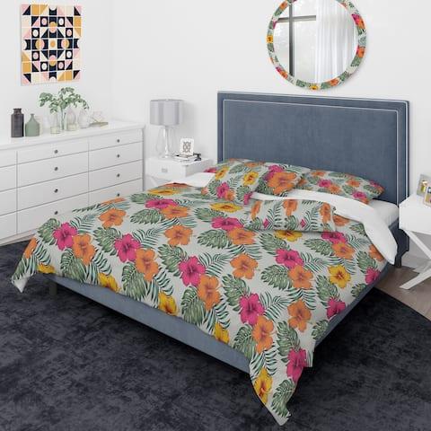Designart 'Retro tropical Leaves III' Mid-Century Modern Duvet Cover Comforter Set