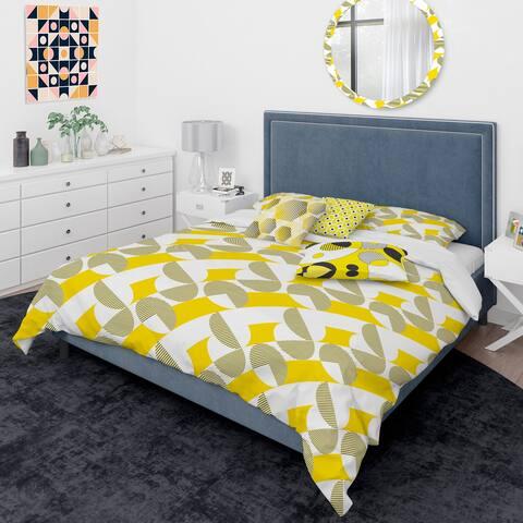 Designart 'Abstract Retro Geometric II' Mid-Century Modern Duvet Cover Comforter Set