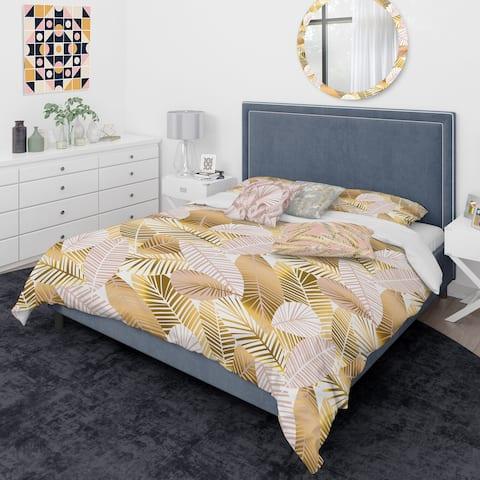 Designart 'Golden Palm Leaves II' Mid-Century Modern Duvet Cover Comforter Set
