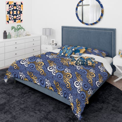 Designart 'Retro Luxury Waves In Gold And Blue III' Mid-Century Modern Duvet Cover Comforter Set