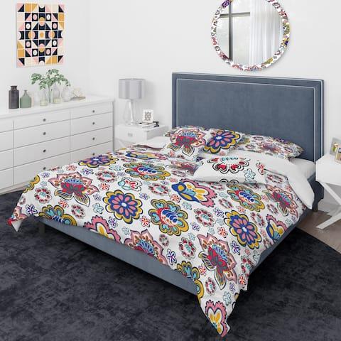 Designart 'Retro handdrawn flowers II' Mid-Century Modern Duvet Cover Comforter Set