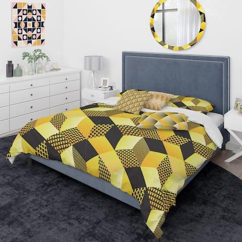 Designart 'Retro Hexagon Pattern II' Mid-Century Modern Duvet Cover Comforter Set